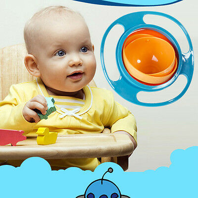 360 Degrees Non Spill Gyro Bowl Feeding Lid Rotating Bowl Baby Toddler Gift UFO