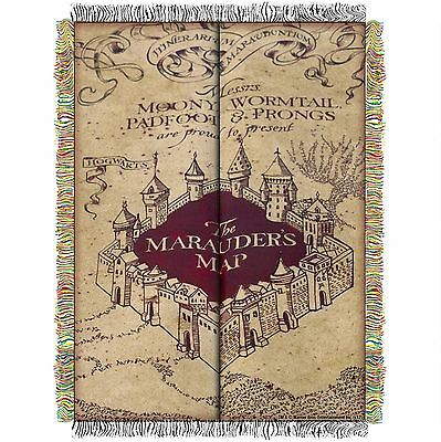Harry Potter Official Made In Usa Big Marauders Map Woven Tapestry Throw Blanket