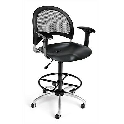 OFM Moon Swivel Plastic Chair with Arms and Drafting Kit, Black