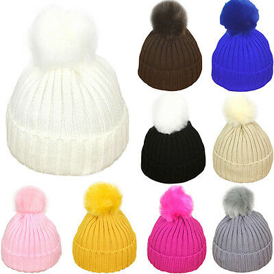 Baby Toddler Kids Boy Girls Warm Knit Beanie Baggy Hat Fur Pom Bobble Ski Cap UK