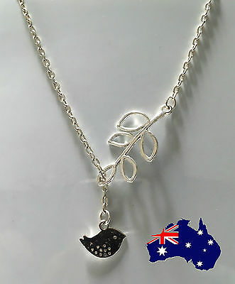 Fashion Women Leaf Bird Pendant Charm Silver Plated Tone Chain Necklace