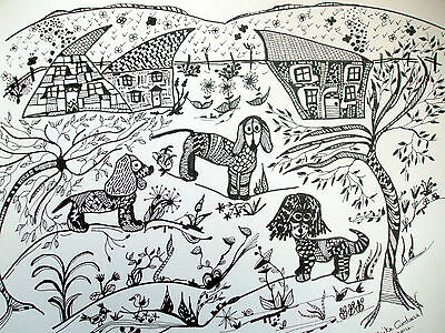 """Original Ink and Pen Drawing """"One Spaniel always wanted her fur different!""""Anita"""