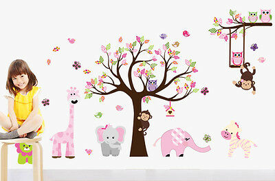 Cartoon Tree Removable Wall Sticker Vinyl Kid Decal Art Nursery Room Decor Mural