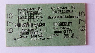 Railway ticket,GWR, Bordesley- Earlswood Lakes. Issued 1962.