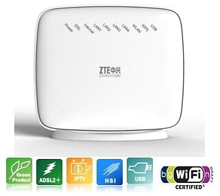 ZTE ADSL ADSL2+ MODEM AND WIRELESS ROUTER WITH USB PORT FOR 3G DONGLE, DLNA/UPnP
