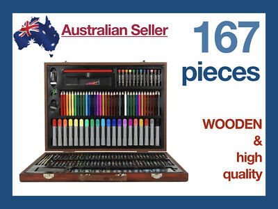 167 Piece Art Box Wooden Set Pastel Water Crayon Colouring Painting Drawing Wood
