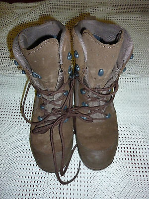 Haix Desert Combat High Liability Brown Suede Boots Size 9M  British Army Issue