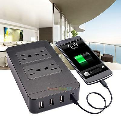 Home/ Office Power Strip with 4-port USB and 4-outlet Surge Protector Black New