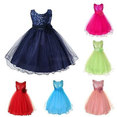 Girls Kids Sleeveless Wedding Bridesmaid Formal Party Princess Flower Dress New