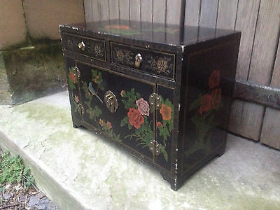 Black Lacquer Chinese 2 Drawer 2 Door Altar Table Oriental Cabinet Birds Flowers