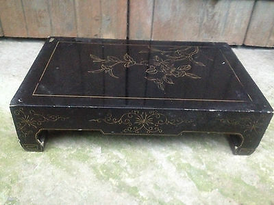 Superb Black Lacquer Chinese Altar Table Stand Fororiental Cabinet Birds Flowers