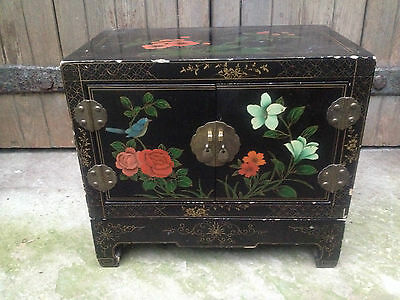 Superb Black Lacquer Chinese 2 Door Altar Table Oriental Cabinet Birds Flowers