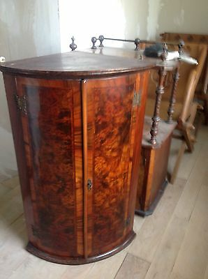 Exceptional George III Inlaid Mahogany Bow Front Hanging Corner Cupboard Cabinet