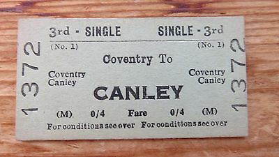Railway ticket, Coventry- Canley. Issued 1958.