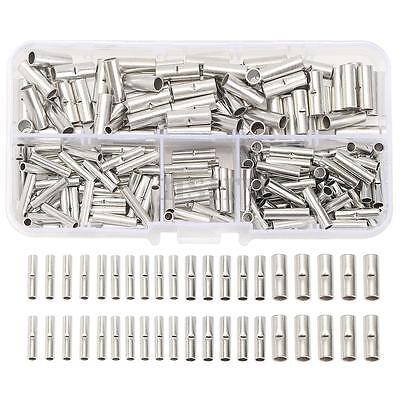 200Pcs 22~10 Copper AWG Butt Splice Connectors Tinned Wire Cable Crimp Terminal