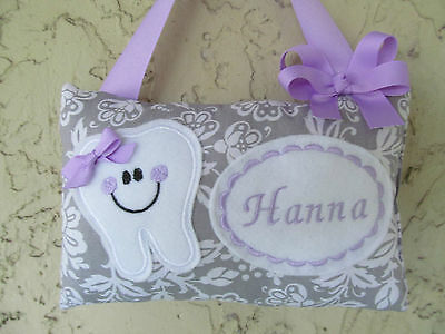 Tooth Fairy Pillow Personalized Gray floral with Lavender Purple