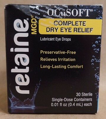OCuSOFT Retaine MGD Lubricant Eye Drops 30 Single Dose Containers Exp 08/18 +
