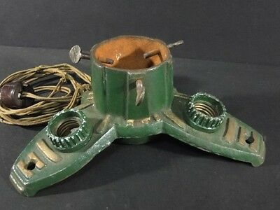 Vintage 1920's Art Deco Painted Green Iron CHRISTMAS TREE STAND w/ Lights