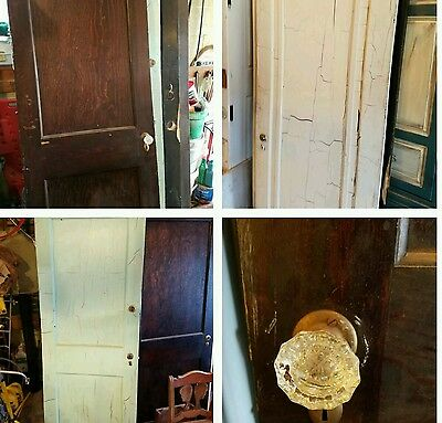 ~ ANTIQUE wooden doors SALVAGE painted stained glass knobs
