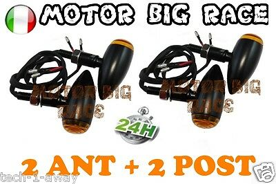 4x UNIVERSALE MOTO LED FRECCE BULLET METALLO Nero 2 ANT + 2 POST M16