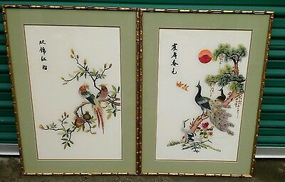 2 Chinese Embroidered Silk Framed Wall Art  Vintage 1960's Peacock/Birds/Flowers
