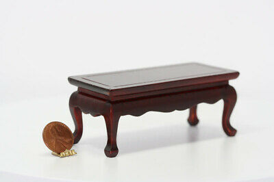 Hand Carved Victorian Cocktail Coffee Table Mahogany 1:12 Dollhouse Miniatures