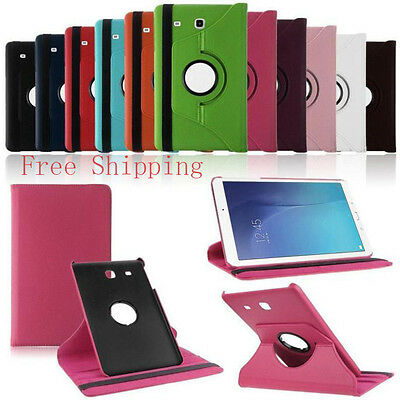 """9.6"""" 360 Rotating Leather Smart Stand Case Cover For Samsung Galaxy Tab E T560"""