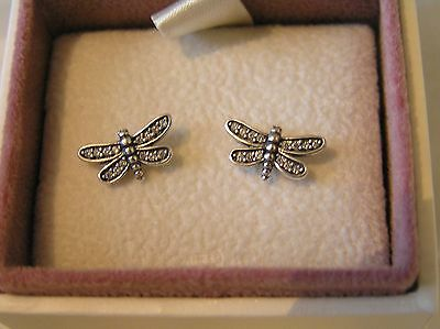 Sterling Silver Pave Dragonfly Stud Earrings 290575CZ Pandora Box Option