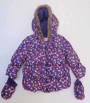 M&S Girl Purple Flowers Infant Winter Hoodie Jacket Coat With Gloves 12-18 Month