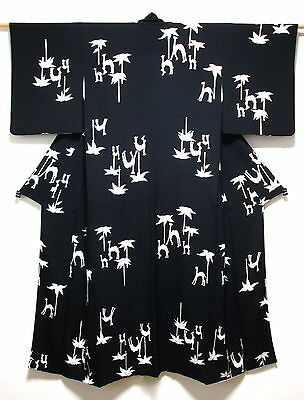 KAWAII! Japanese Kimono/Robe/Coat Black & White Silk 'Camels & Palm Trees' 10-14