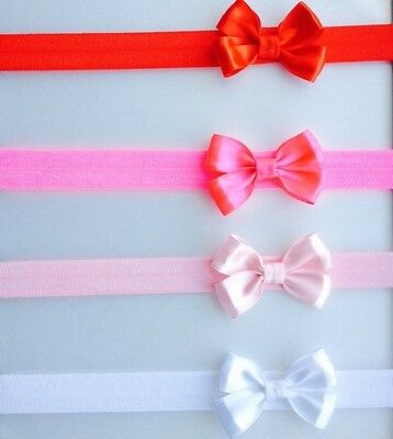 Classic 4Pack Baby/Girl Satin Bow Hairband Headbands BabyPink,Red,Pink&White