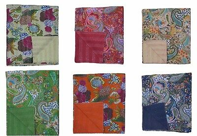 Indian Handmade Embroidery Twin Size Kantha Quilt Throw Bedspread 150cm x 225cm