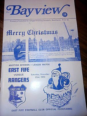 East Fife V Rangers Scottish League 23Rd December 1972 In Good Condition