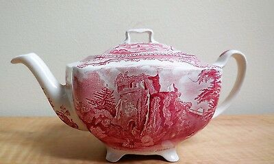 "Johnson  Bros   Red & White  Teapot  Made  In  England   ""old Britain Castles"""
