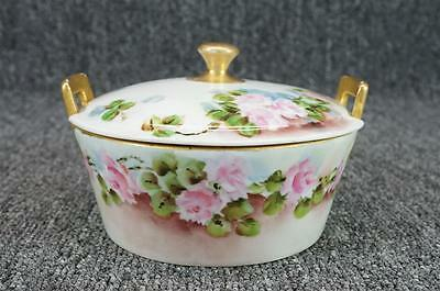 Vintage Hand Painted Floral Austira MZ Lidded Butter And Cracker Dish W/ Insert
