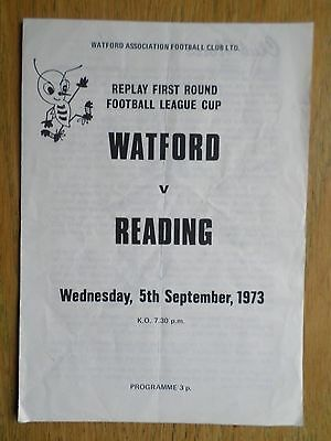 Watford v Reading 1973/74 League Cup programme