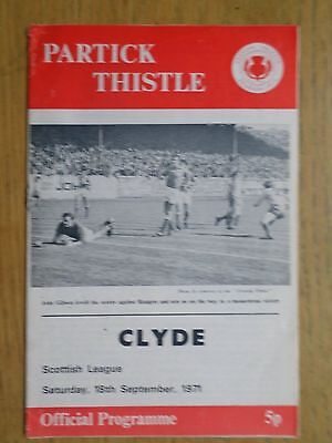 Partick Thistle v Clyde 1971/72 programme