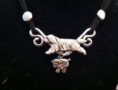 Bearded Collie  Lovers Necklace!~ on suede Cord~sheepherding Beardie