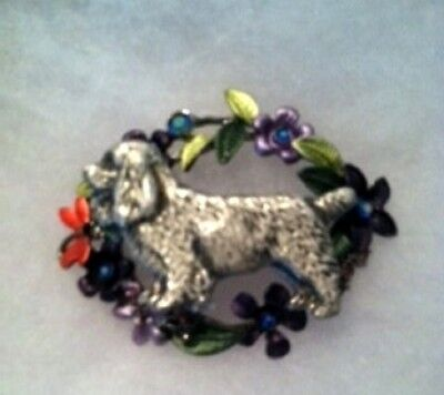 Sussex Spaniel  Enamel Flower BROOCH~Pin~dog jewelry~awesome