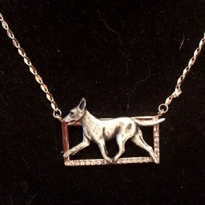 Two tone Rectangle Necklace with gaiting Dog~Manchester Terrier