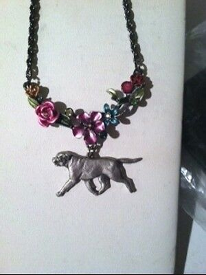 Bullmastiff Dog Enamel Flowers Necklace~~so pretty!!!!