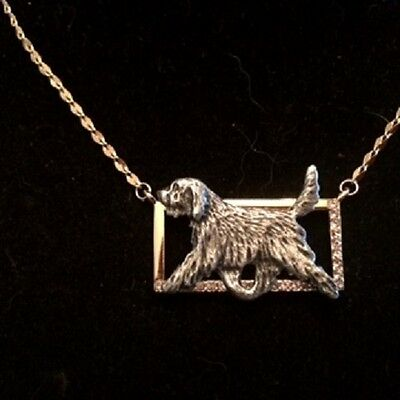 Two tone Rectangle Necklace with gaiting Dog~Otterhound Otter hound