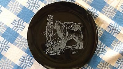 Alaskan Malamute-  Gorgeous Hand Engraved Ceramic Plate  by Ingrid Jonsson