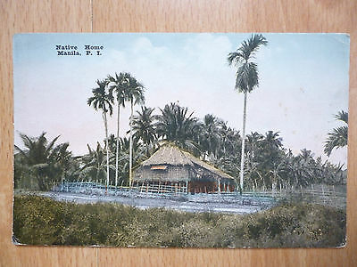 A Native Home  Manila Philippines Vintage Postcard