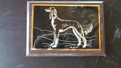 SALUKI- Beautifully hand engraved Wall Plaque by Ingrid Jonsson