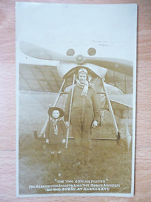 HAROLD BLACKBURN AVIATOR AND HIS BOY SCOUT ADMIRER c1914 HARROGATE YORKSHIRE