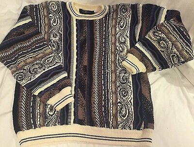 Men's Cotton Traders Coogi Style Abstract 3D Biggie/Cosby Hip Hop Sweater Large