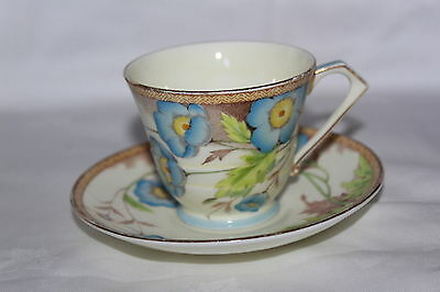 Royal Paragon Art Deco Iceland Poppies (Blue) Cup & Saucer