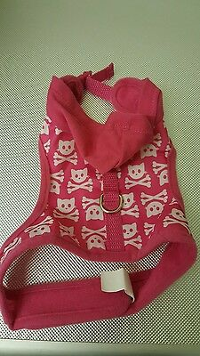 Pink cat harness hoodie in small