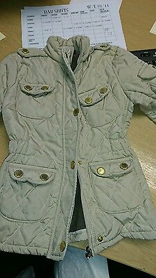 Girls Barbour Style Coat Taupe/ Beige Age 4